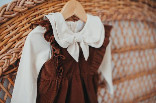 Hazelnut Corduroy Pinafore by KCoulst Designs - Little Cherished Co.