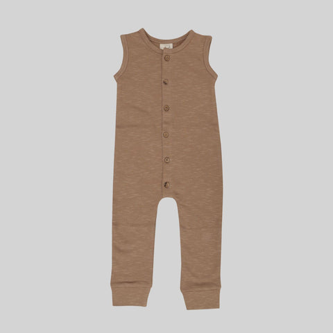Hazelnut Fleece Jumpsuit by Buck and Baa- Little Cherished Co.