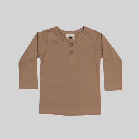 Hazelnut Henley Tee by Buck and Baa- Little Cherished Co.
