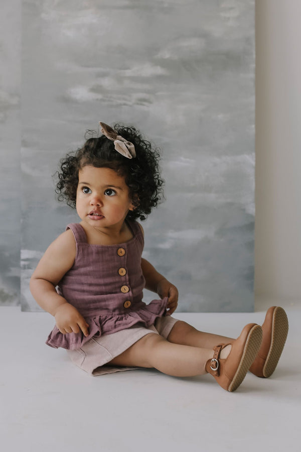 little girls wearing indie singlet in rose taupe