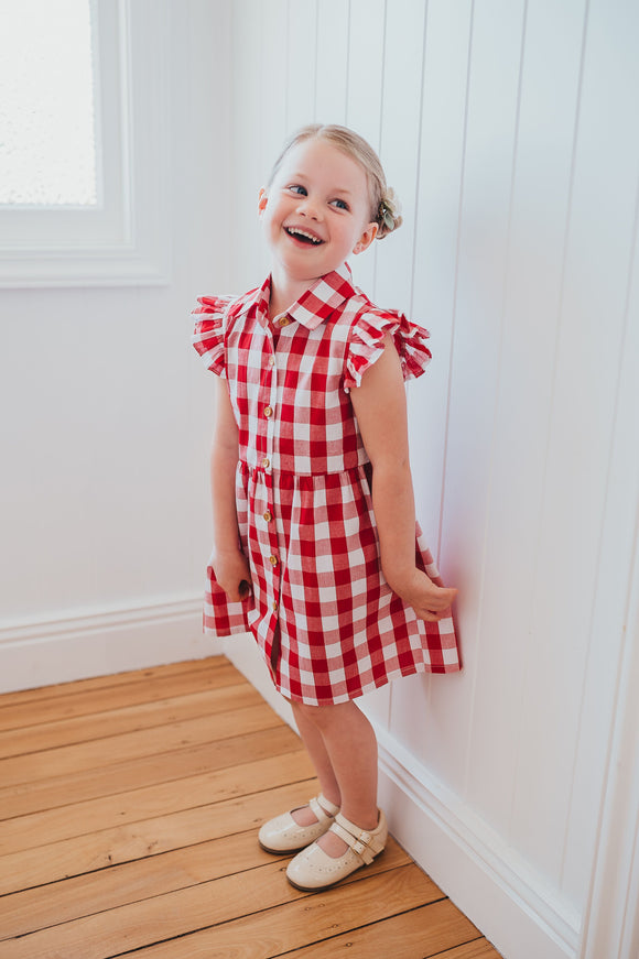 Christmas Red Gingham Dress by K Coulst Designs