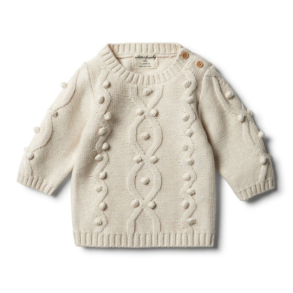 Oatmeal Knitted Jumper with Baubles by Wilson and Frenchy
