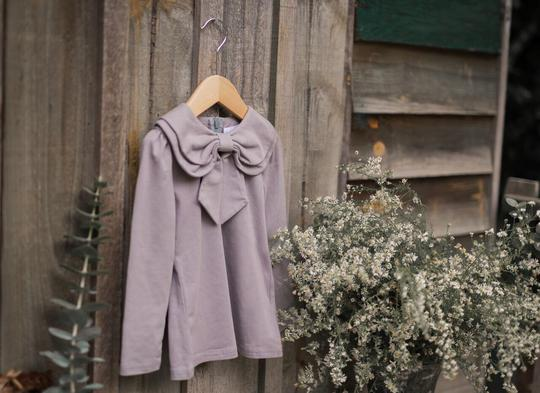 Grey Bow Blouse hanging