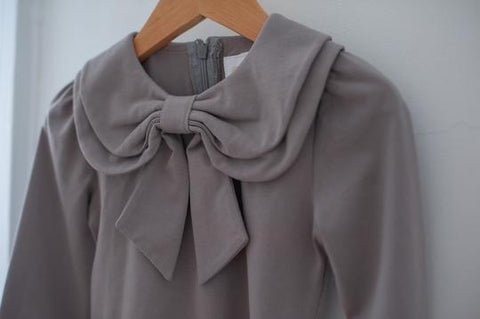 Grey Bow Blouse by KCoulst Designs- Little Cherished Co.