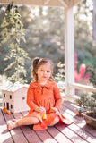 Terracotta Bow Dress by KCoulst Designs- Little Cherished Co.