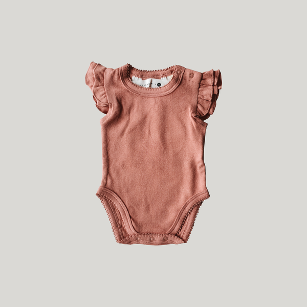 pink clay organic cotton fluttersuit by susukoshi
