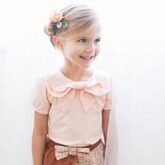 Peach Bow Blouse by KCoulst Designs