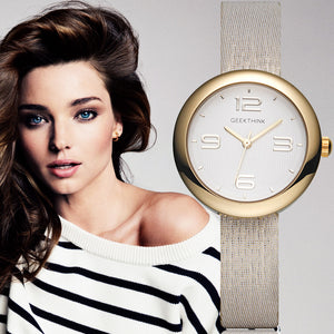 GEEKTHINK One-Piece Quartz Watches Women Brand Ladies Simple Casual Leather strap Wristwatch Gold Girl Clock Female & Gift Box