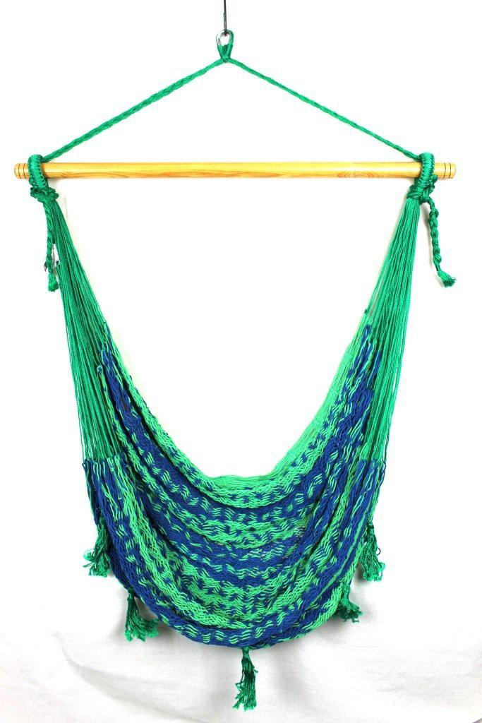 Mexican Hammock Chair - Navy Blue & Green-Mexican Hammock-Extra Large $129-Hammock Heaven