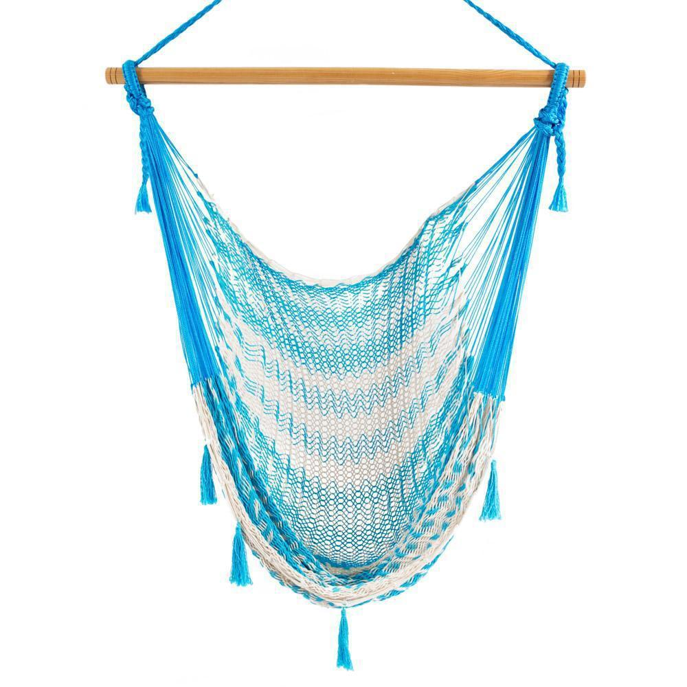 Combo: Hammock Chair & A Frame Stand-Hammock Stands-Large-Baby Blue & White-Hammock Heaven