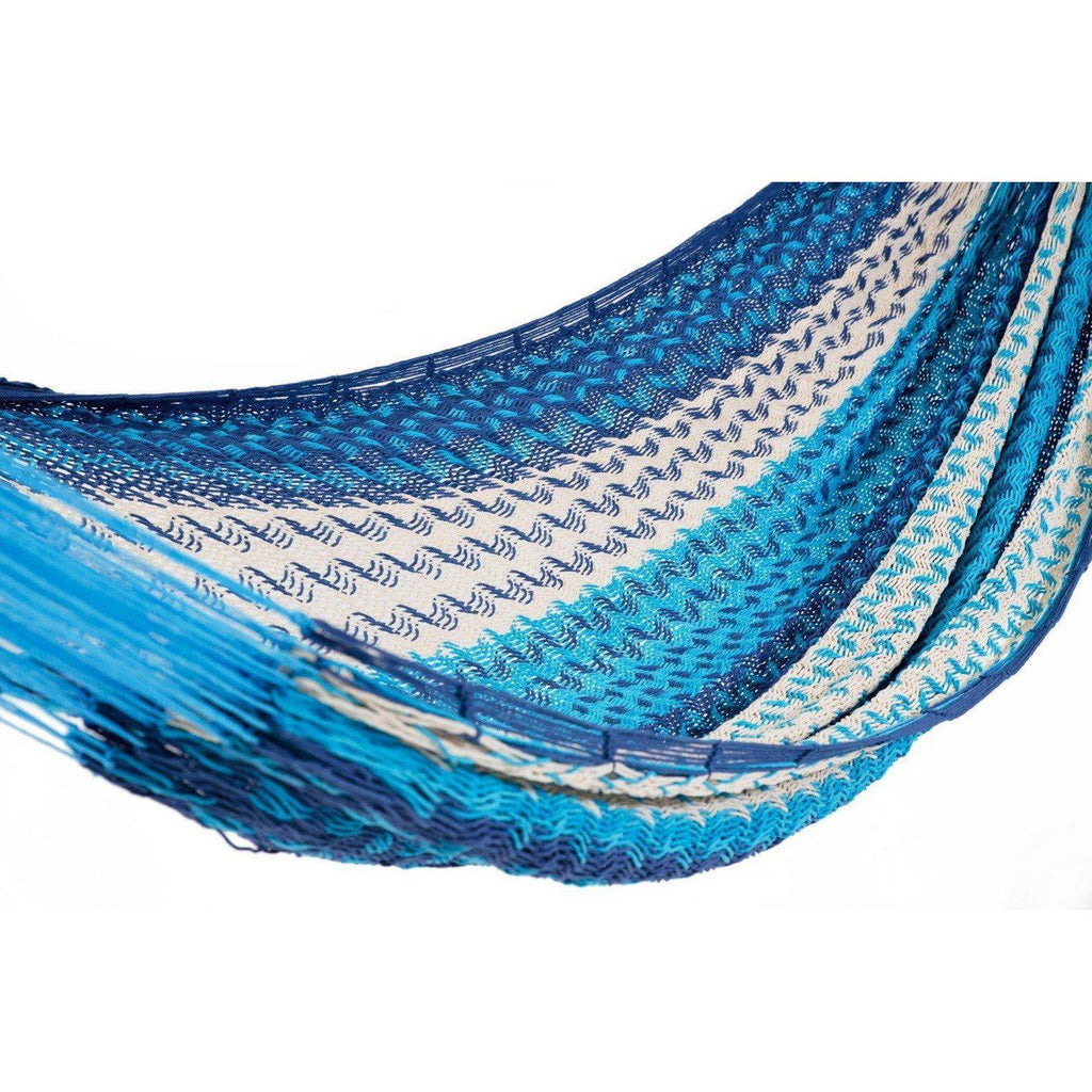 Deluxe Thick Weaved Mexican Hammock Cotton Dark Blue, Light Blue & White-Mexican Hammock-Hammock Heaven