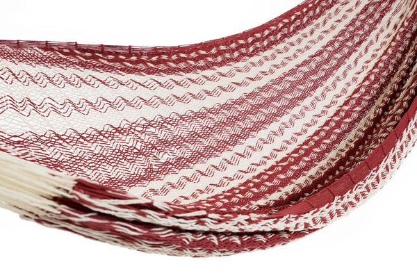 Deluxe Thick Weaved Mexican Hammock Cotton Maroon & White-Mexican Hammock-Hammock Heaven