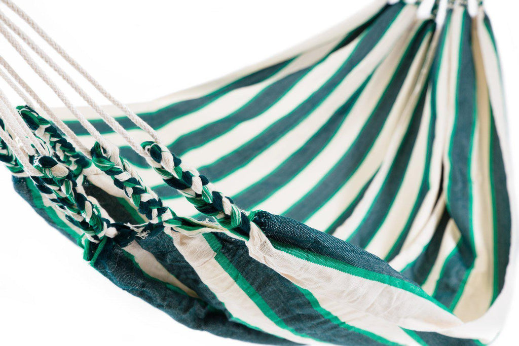 Ecuador Hammock Cotton Green & White-Ecuador Hammocks-Hammock Heaven