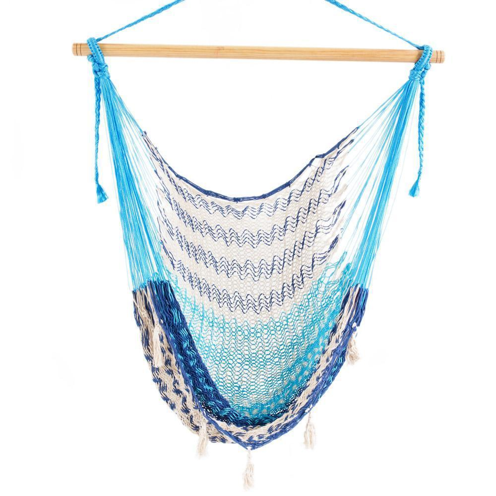 Mexican Hammock Chair - Baby Blue, Dark Blue & White-Mexican Hammock-Large $89-Hammock Heaven