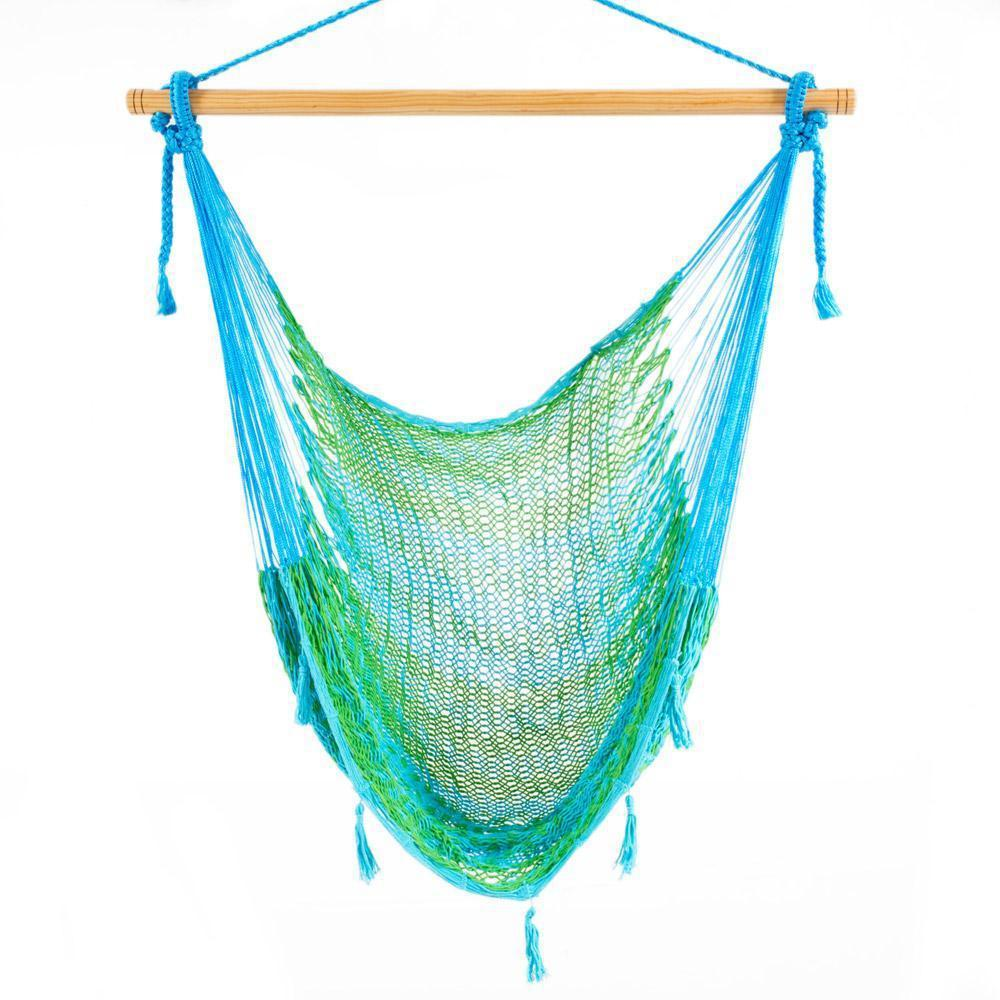Mexican Hammock Chair - Light Green & Baby Blue-Mexican Hammock-Large $89-Hammock Heaven
