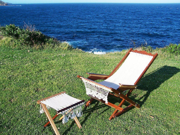 Mexican Hammock Timber Deck Chairs: Off White-hammock chair-Hammock Heaven