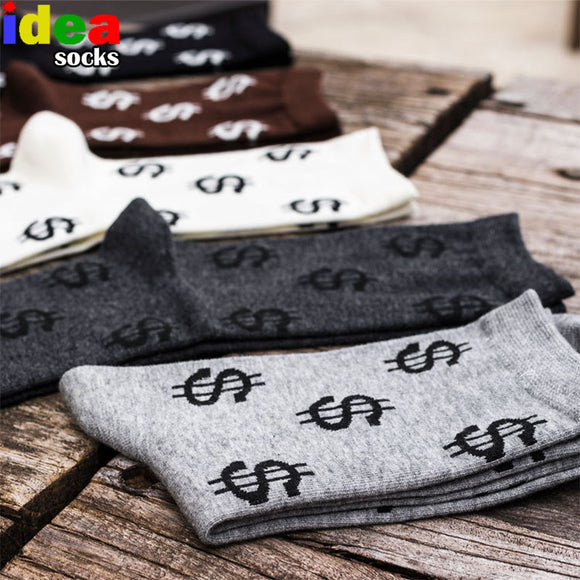 Harajuku Men Summer Autumn Novelty Personality Cotton Long Funny Socks Money Dollar Pattern Socks Cash Business Dress Socks