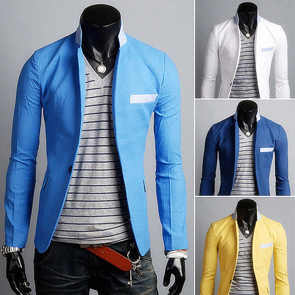 2015 New Arrival Single Button Leisure Blazers Men Male Fashion Slim Fit Casual Suit Blazer Clothing Solid Blazer Men 4 Colors
