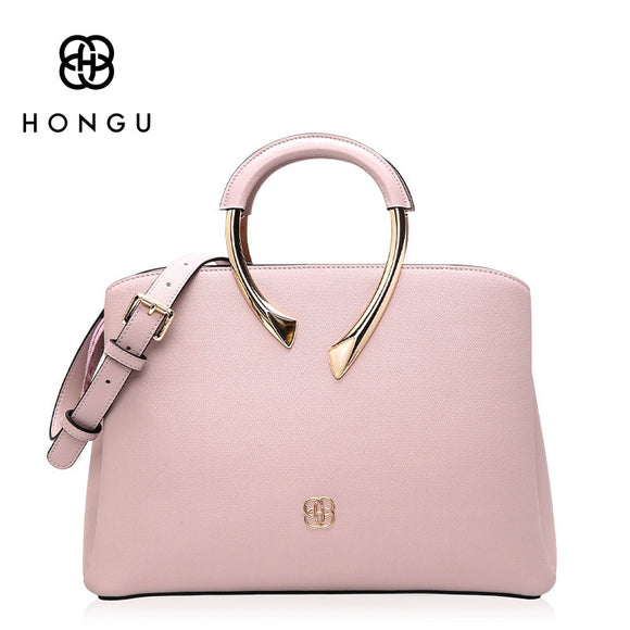 HONGU Genuine Leather Women's Bags Fashion Simple Solid Women Handbags Female Shoulder Crossbody Bag Elegant Lady Handbag bolsa