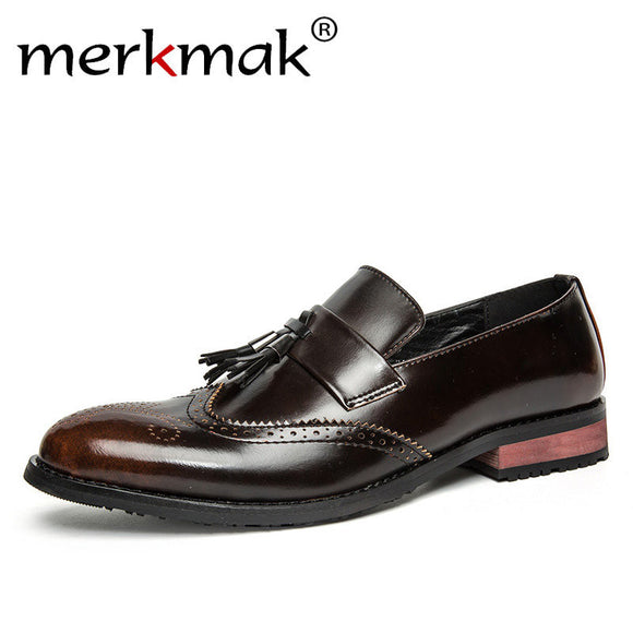 Merkmak Luxury Men Leather Shoes Brogue Dress Shoes Retro Tassel Men's Party Wedding Formal Business Flat Shoes Loafers