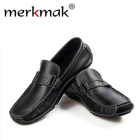 Merkmak New Genuine Leather Shoes Men Flats Shoe Mens Soft Breathable Casual Men Loafers Slip On Classic Moccasins Driving Shoes