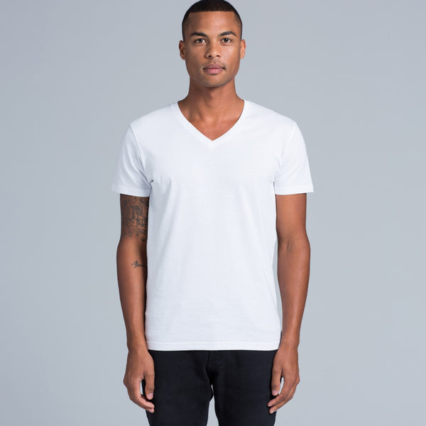 Men's V- neck t-shirts, screenprinted, in quantities of 10, 20, 50 or 100, from $18 each