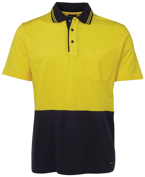 Men's hi vis safety 100% cotton polo, various colours, screeprinted, in quantities of 5,10,20, 50, from $30 each