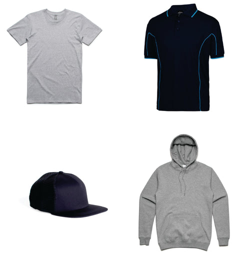 Men's branded bundle - save over $100 - 5 printed shirts, 5 printed polos, 2 printed hoodies, 5 printed trucker caps ONLY $545 for the lot!