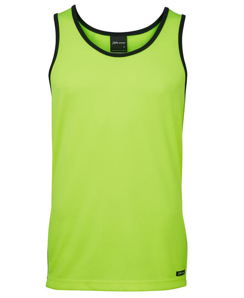 Men's high vis safety singlet, various colours, screeprinted, in quantities of 5,10,20,50 from $10 each