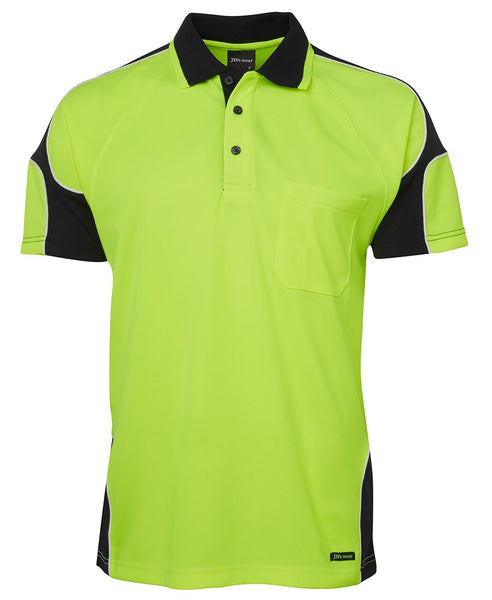 Men's hi vis safety arm panel polo, various colours, screeprinted, in quantities of 5,10,20, 50, from $25 each