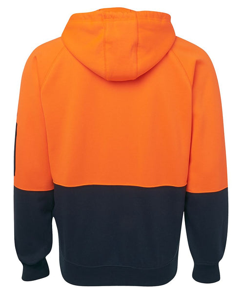 Men's hi vis hoodie, screenprinted, in quantities of 3,5,10,20, from $42.50 each
