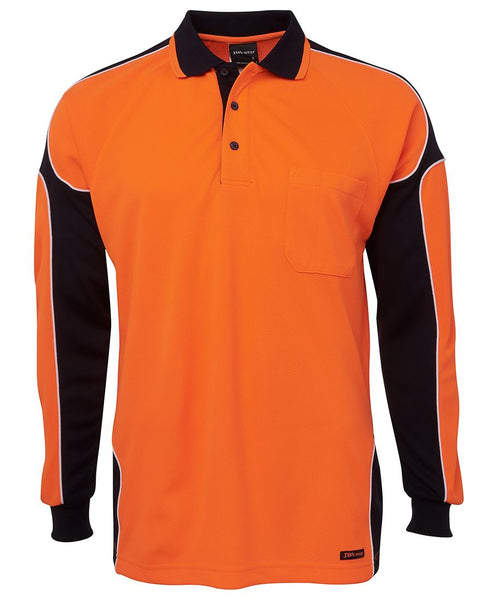 Men's hi vis safety arm panel long sleeve polo, various colours, screeprinted, in quantities of 5,10,20, 50, from $30 each