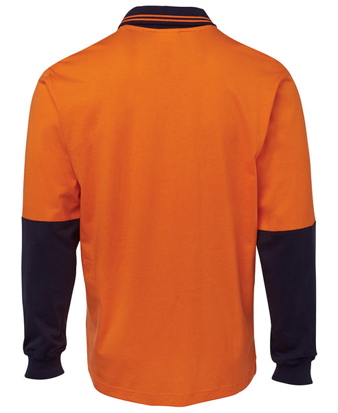 Men's hi vis safety 100% cotton long sleeve polo, various colours, screeprinted, in quantities of 5,10,20, 50, from $30 each