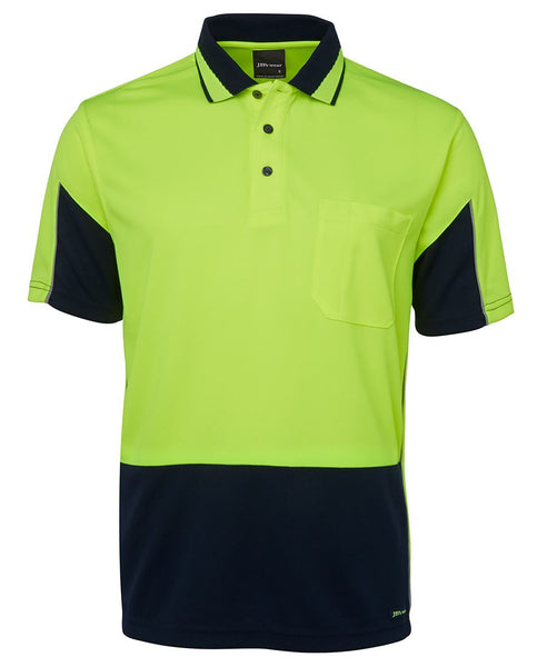 Men's hi vis safety gap polo, various colours, screeprinted, in quantities of 5,10,20,50, from $30 each