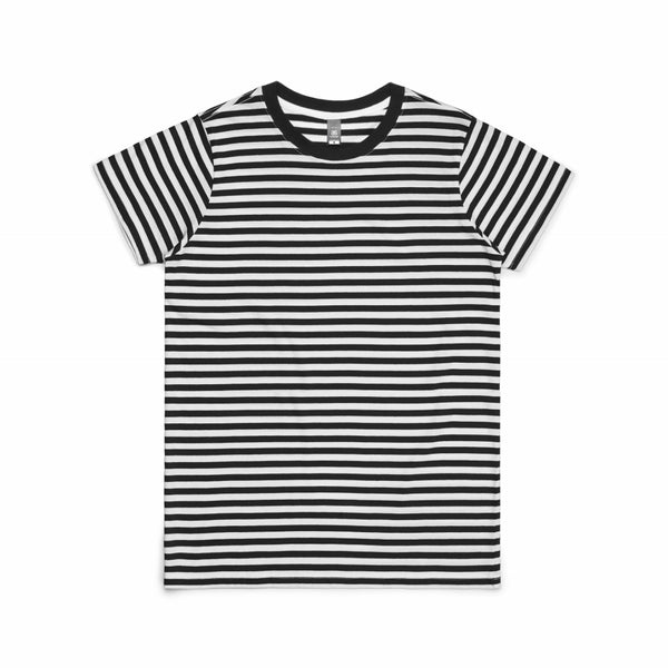 Ladies line stripe or maple stripe t-shirt, blank, logo or wording printed, quantities of 5,10, from $31 each