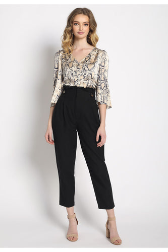 High Waisted Ruffle Cropped Trousers