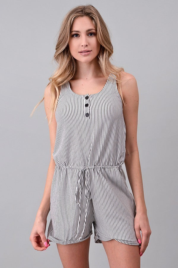 Stripe Romper w/ Button Detail