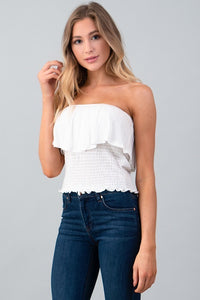 Smocked Ruffle Tube Top