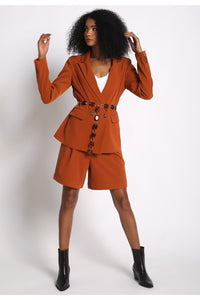 Rust Double Breast Gabardine Blazer