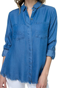 Tencel Raw Edge Pocket Shirt