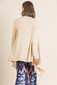 Soft Knit Long Sleeve Open Front Cardigan - Natural