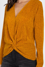 Twist Hem Brushed Knit Top - Mustard