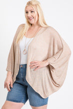 Open Front Cardigan Back V-neck Kimono Sleeves
