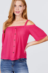 Open Shoulder Button Down Top