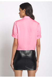 Collared Low V Neck Blouse-Bubblegum Pink