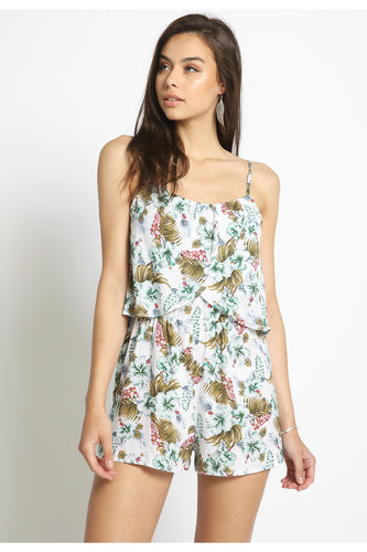 Tropical Print Romper-Cream