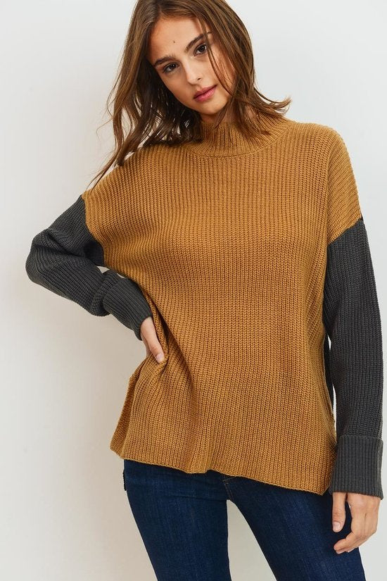 Mock Neck Color Block Sweater Knit Top
