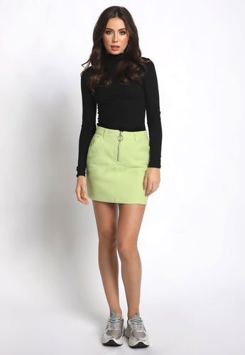 O-Ring Neon Denim Skirt