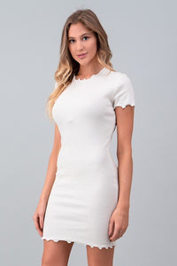 White Lettuce Edge T-Shirt Dress