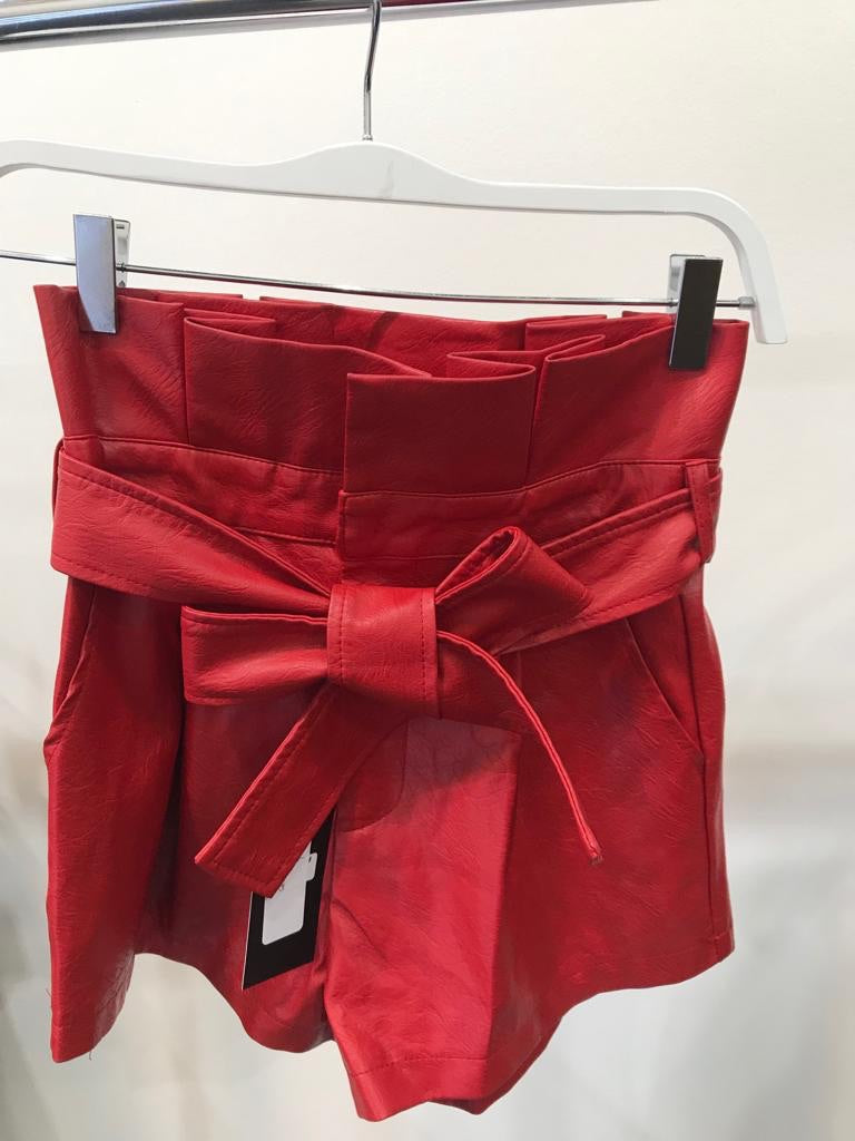 Red Leather Short
